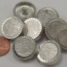 """8 Thick Heavy Brushed Silver Tone Metal Buttons 3/4"""" 19mm US Made # 6814"""