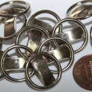"""Lot of 12 Pierced Silver Tone Metal Shank Buttons 11/16"""" 18mm # 5732"""