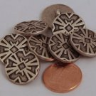 """8 Antiqued Silver Tone Black Accent Metal Buttons 11/16"""" 18MM # 6013"""