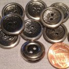 """12 Shiny Silver Tone Metal Sew-through Hollow Buttons Almost 3/4"""" 18.5mm # 7658"""