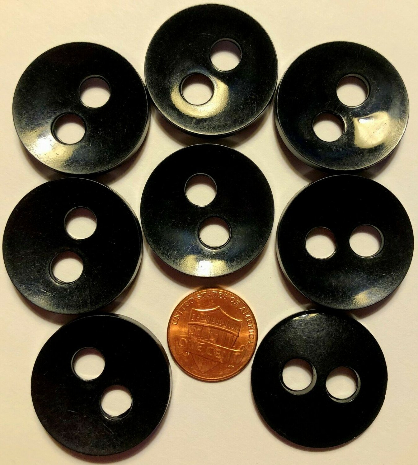 """8 Large Concave Shiny Glossy Black Plastic 2-hole Buttons 1 1/8"""" 28mm 6667"""