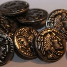 """8 Antiqued Silver Tone Metal Buttons Puffed Indian Head 7/8"""" 23mm # 5902"""