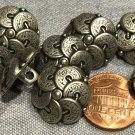 """Lot of 8 Antiqued Silver Tone Shank Metal Buttons Almost 5/8"""" 15mm # 8109"""