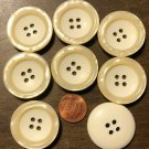 """8 Large Rimmed Concave Cream Plastic Buttons Pearlized Rim 1 3/16"""" 31mm 6106"""