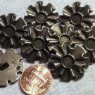 """8 Antiqued Silver Tone Metal Buttons Floral Flower Just Over 7/8"""" 23.5mm # 7968"""