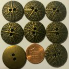 """8 Antiqued Brass Tone 2-hole Sew-Through Metal Buttons 7/8"""" 23MM # 5972"""