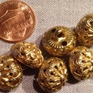 """8 Hollow Domed Gold Tone Metal Twinkle Buttons Almost 9/16"""" 13.7mm # 7990"""
