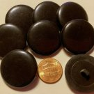 """8 Large Shiny Glossy VERY DARK Brown Plastic Shank Buttons 1 1/8"""" 28mm 10984"""