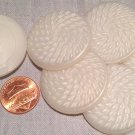 """6 Large Pearlized Dusty Cream Plastic Shank Buttons 1 3/8"""" 34.6mm # 7746"""