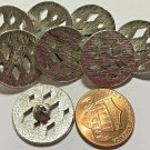 """8 Heavy Flat Top Brushed Silver Tone Metal Shank Buttons 3/4"""" 19mm US Made 6811"""