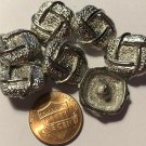 """7 Heavy Square Shiny Silver Tone Metal Buttons Almost 3/4"""" 18.5mm US Made 6844"""