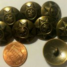 """8 Antiqued Brass Tone Domed Metal Shank Buttons Star Crown 13/16"""" 20mm 6050"""