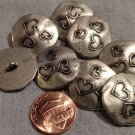 """8 Antiqued Silver Tone Metal Buttons Slight Dome 3 Hearts Almost 7/8"""" 22mm 7970"""