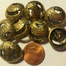 """8 Shiny Antiqued Brass Tone Metal Heavy Domed Pierced Buttons 3/4"""" 19mm 6444"""