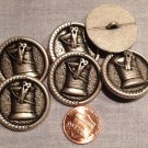 """6 Antique Silver Tone Shank Buttons Spool of Thread Scissors 1 1 /8"""" 28mm # 7945"""