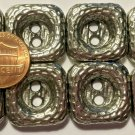 """8 Dark Silver Tone Metal Shiny Square Heavy Sew-through Buttons 13/16"""" 21mm 6412"""