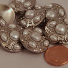 """8 Shiny Silver Tone Domed Metal Buttons Faux Pearl Cabochons 7/8"""" 23MM # 6027"""