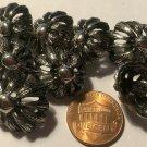 "8 Oval Silver Tone Metal Domed Pierced Flower Shank Buttons 13/16"" 20mm 6408"