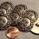 """8 Large Antiqued Silver Tone Metal Shank Buttons 1 1/8"""" 28mm # 7955"""
