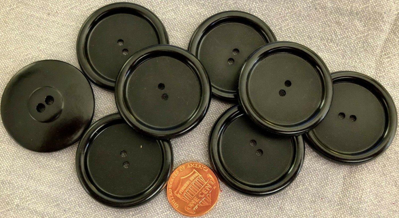 """8 Large Black Plastic Coat Buttons Shiny Lip Matte Center 1 3/8"""" 35mm # 8886"""