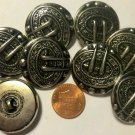 """8 Vintage? Silver Tone Puffed Metal Shank Buttons Puffed Hollow 1 1/8"""" 29mm 6318"""