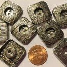 """8 Heavy Square Silver Tone Metal Sew-through Buttons 7/8"""" 23mm US Made 6826"""