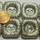 """8 Large Silver Tone Metal Shiny Square Heavy Sew-through Buttons 1"""" 25.6mm 6410"""