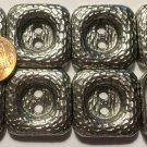"""8 Dark Silver Tone Metal Shiny Square Heavy Sew-through Buttons 1"""" 25.6mm # 6411"""