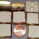 "8 Square Thick White Plastic Gold Tone Metal Retro Buttons 13/16"" 20mm # 7635"