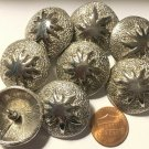 """8 Shiny Silver Tone Metal Heavy Domed Shank Buttons 1 1/8"""" 28mm US Made 6400"""