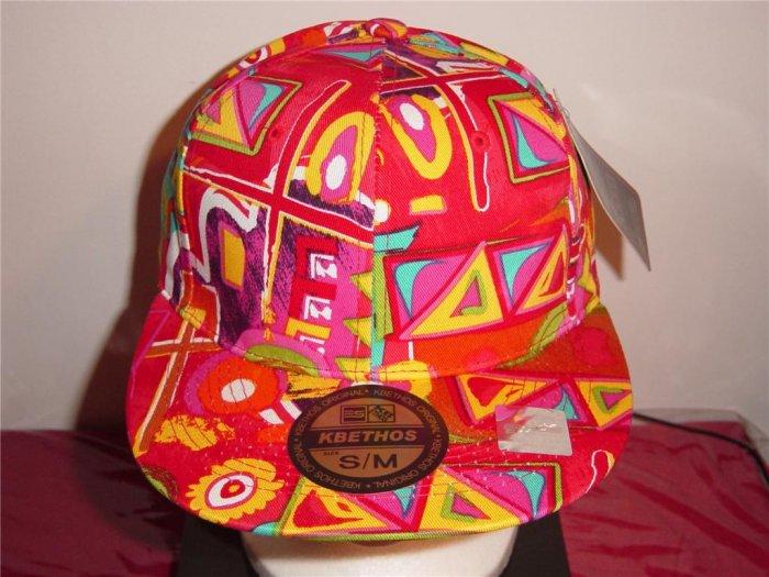 New Red K&B Ethos Aztec Fitted Retro-Pop Fresh Prince Era Caps