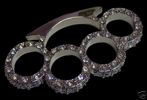 ICED OUT SILVER DIAMONDS BRASS KNUCKLE PENDANT NEW HOT!