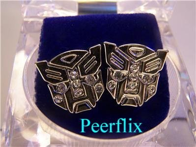 TRANSFORMERS ICED OUT BLING SILVER DIAMOND EARRINGS