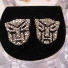 TRANSFORMERS AUTOBOTS SILVER DIAMOND STUD EARRINGS NEW