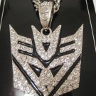 "SILVER DIAMONDS TRANSFORMERS AUTOBOTS DECEPTICONS PENDANT CHARM + 35"" NECKLACE CHAIN"
