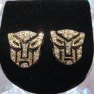 TRANSFORMERS AUTOBOTS GOLD DIAMOND STUD EARRINGS NEW