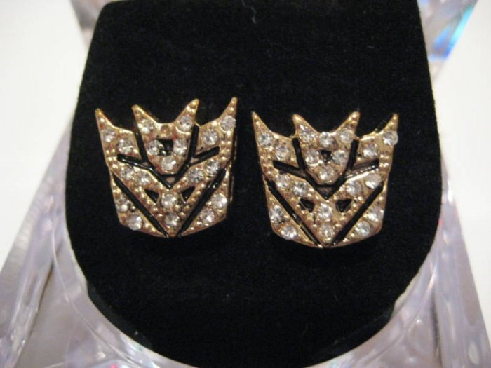 NEW TRANSFORMERS DECEPTICON AUTOBOTS GOLD STUD EARRINGS