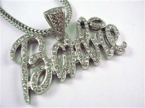 LARGE SILVER NICKI MINAJ'S BARBIE PENDANT CHARM NECKLACE