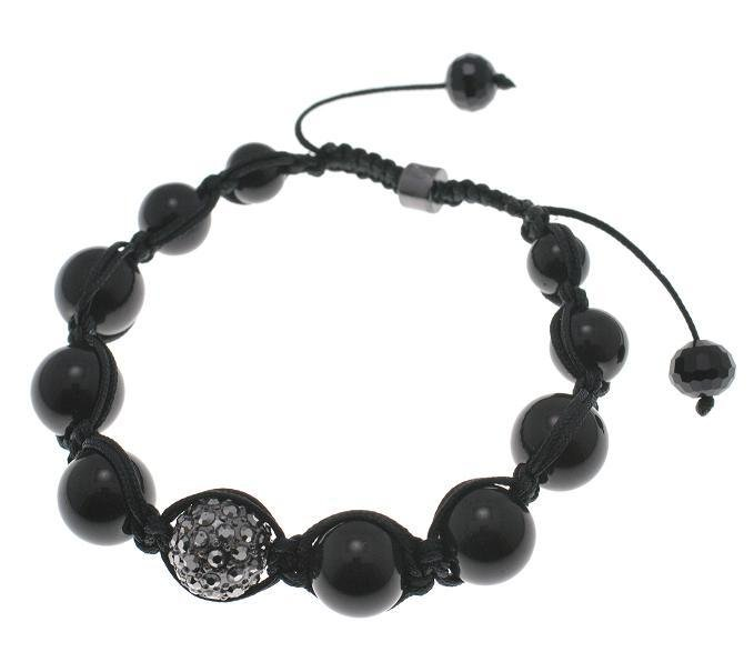 NEW SHAMBALLA BLACK 10MM CZ DIAMOND BALL BRACELET MACRAME FAUX ONYX MB18HE