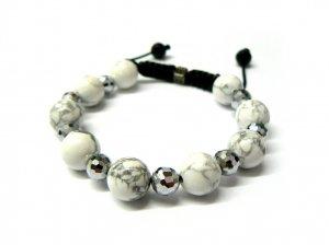 12mm White Silver Marble Beads Shamballa Bracelet MB132