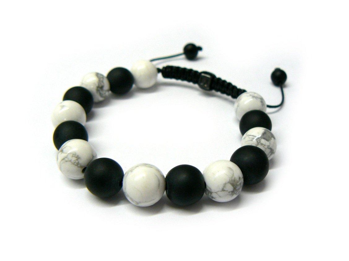 12mm Black White Marble Beads Shamballa Bracelet Mb147