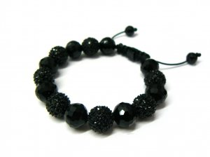 12mm Jet Black 7 Diamond Crystals Shamballa Bracelet HB18BP