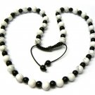 30 Inch Black White Marble Beads Shamballa Necklace MC163
