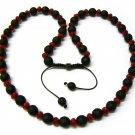 "30"" Red & Black Matte Beads Shamballa Necklace MC166"
