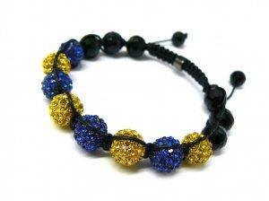 10mm 8 Blue Yellow Diamonds Shamballa Bracelets MB25Y-BL