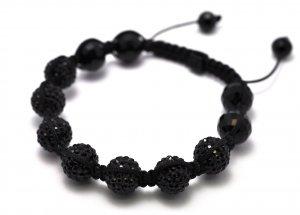 12mm 7 Jet Black Diamond Crystals Shamballa Bracelets HB106BK