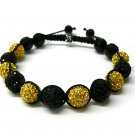 10mm 11 Black Yellow Diamond Crystals Shamballa Bracelets MB64