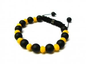 10mm Black Yellow Matte Beads Shamballa Bracelet MB232