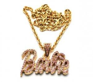 Nicki Minaj Barbie Small Necklace Pendant - Gold Pink MZ34G-PK