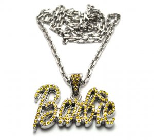 Nicki Minaj Barbie Small Necklace Pendant - Silver Yellow MZ34R-Y